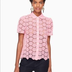 • Kate Spade • Bloom Floral Lace Blouse Pink Small